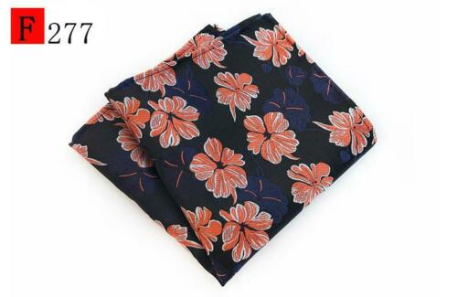 Red Blue Brown Orange Black Flower Patterned Pocket Square Handkerchief