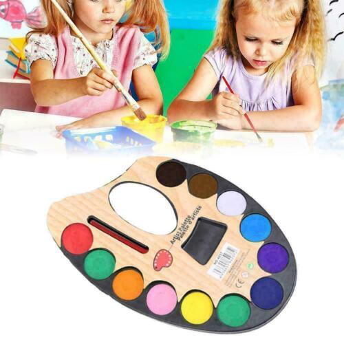 Paint and Brush Set 2.8cm Watercolour Paint Colors Pigment 12 Artist G7L3 C5R5