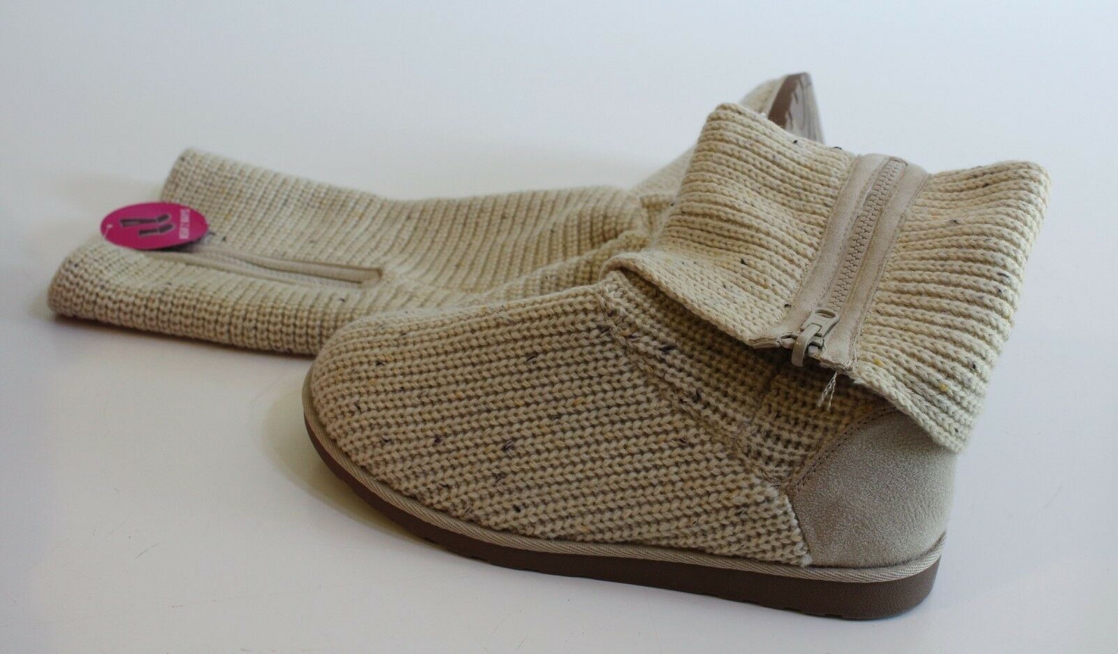 So Fold Over Boots Size 10 Oatmeal Ivory Wool Blend Sweater Knit Retail