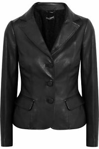 Fit Women Coat Button Jacket Slim Blazer Leather Genuine Lambskin Stylish qwZUaB