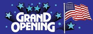 3ft x 8ft Grand Opening (blue) Vinyl Banner -Alt to Banner Flag 3'x8' (0015)