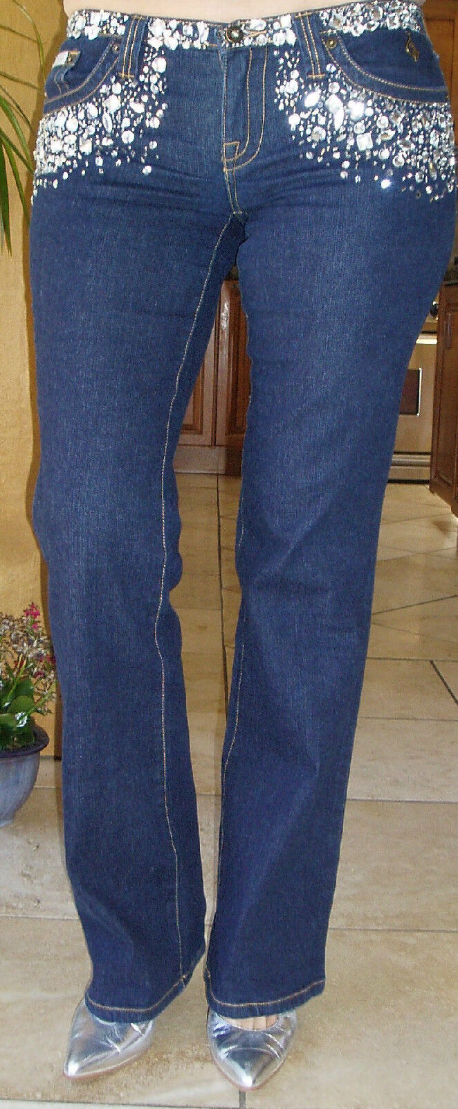 NWOT MSRP  225 AWESOME BABY PHAT S 3 JEWELED SEQUIN BEADED DARK blueE JEANS