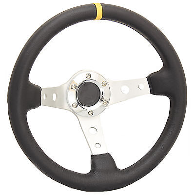 SILVER DEEP DISH DRIFTING/TRACK CAR STEERING WHEEL RACE/SPORTS/DRIFT/LEATHER EFF