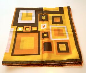 Vera-Neumann-MOD-Stripe-Silk-Vintage-Scarf-Orange-Brown-Yellow-Japan