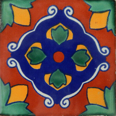 50 Mexican Talavera tiles 4x4 Decorative Folk Art Handmade C116