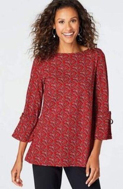 NEW J. JILL 2X 3/4 Sleeve Tie Top Pima Cotton/Modal/Sx Floral Red Black