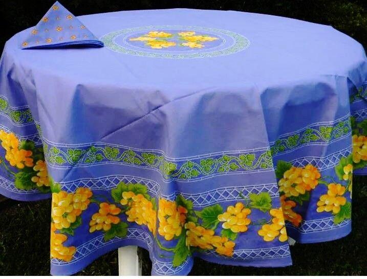 Le Cluny, Raisins Bleu FRENCH PROVENCE enduit Coton Nappe, 70  Rond