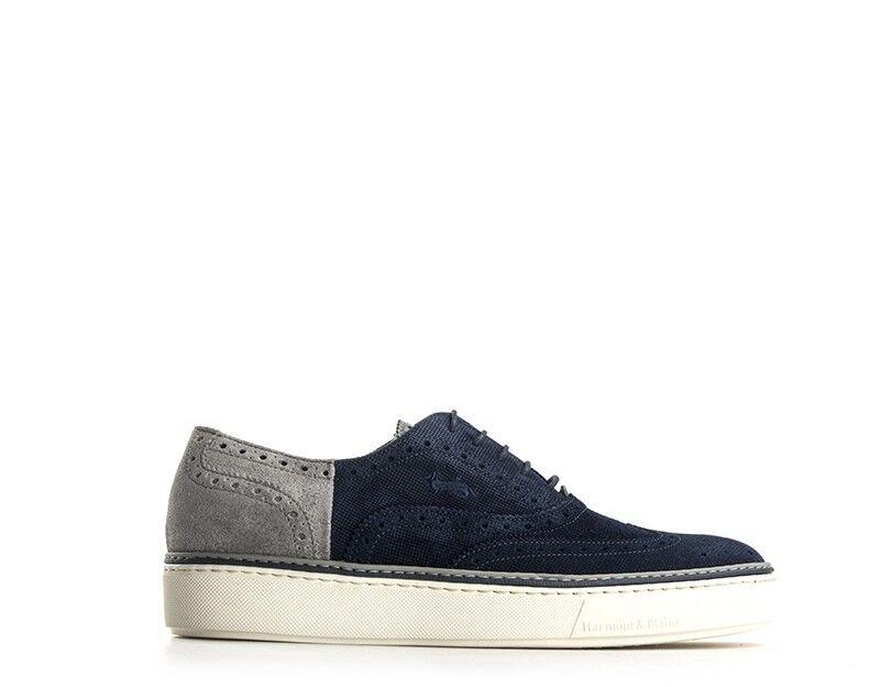 Chaussures HARMONT&BLAINE Homme bleu gris Brogue,en daim E8022626