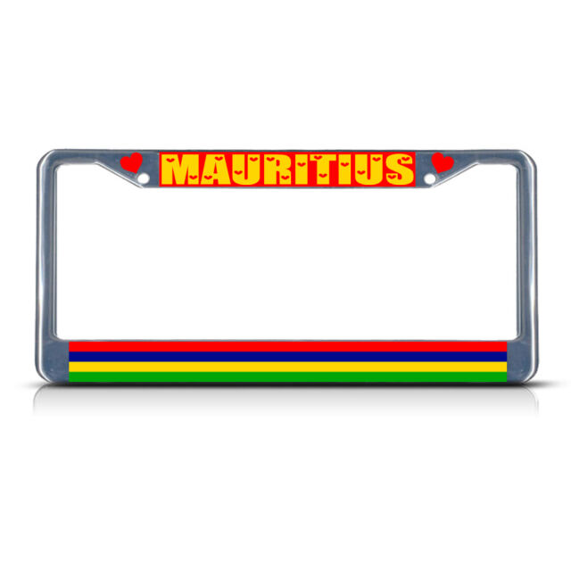 MAURITIUS FLAG BLACK COUNTRY Metal License Plate Frame Tag Holder Two Holes