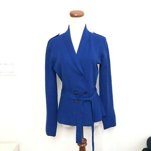 Classiques-Entier-M-Royal-Blue-Double-Breasted-Belted-Wool-Cardigan-Jacket-CEK