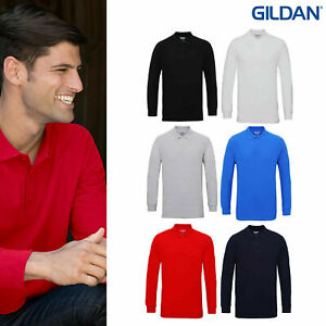 Nueva-Camisa-Polo-GILDAN-Hombre-Premium-Smart-Casual-Manga-Larga-100-Algodon-Suave