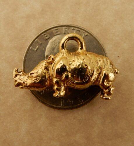 Rhinoceros charm 22k gold plated 3D Rhino