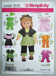 Simplicity-2458-clothes-Pattern-American-style-for-18-034-girl-dolls-NEW-UNCUT