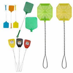 2 Wire Mesh Fly Swatter Plastic Bug Mosquito Insect Flying Wasp Killer Catcher
