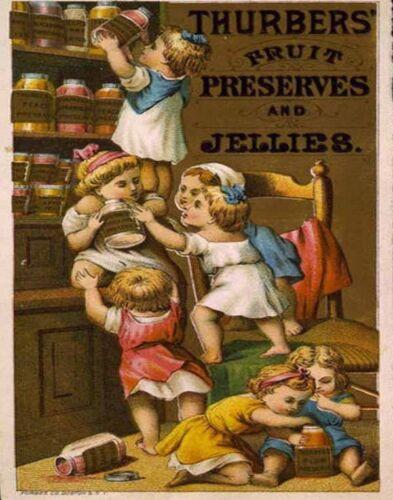 thurbers Jellies VINTAGE ADVERTISING ENAMEL METAL TIN SIGN WALL PLAQUE Kitchen