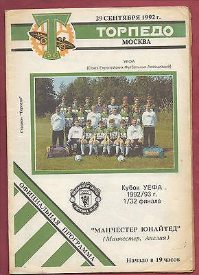 Aggressiv Orig.prg Uefa Cup 1992/93 Torpedo Moskau - Manchester United !! Selten