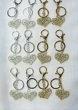 Wholesale 12 PCS Heart Keychains Key Rings Gold Silver Mix With Clear Stones NEW