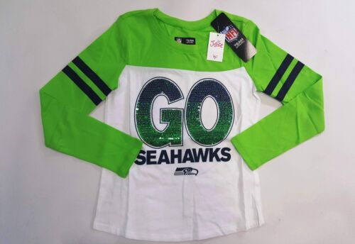 NWT Justice Kids Girls Size 16 or 18 Seattle Seahawks Football Sequin Shirt