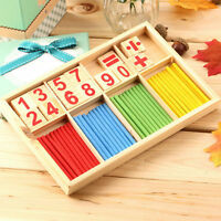 Math Manipulatives Wooden Counting Sticks Kids Preschool Educational Toys Wr
