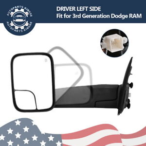 Driver-Side-Power-Heated-Tow-Mirror-Flip-Up-for-02-08-Dodge-RAM-1500-03-09-2500