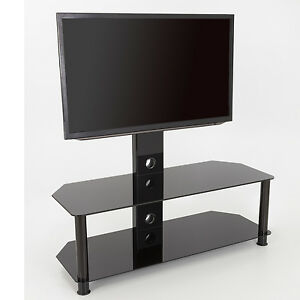 Black-Glass-TV-Stand-With-TV-Mount-Wall-Bracket-for-32-65-034-inch-114cm