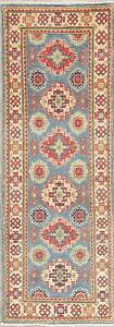 Vegetable-Dye-Geometric-Super-Kazak-Oriental-Runner-Rug-Wool-Hand-knotted-2-039-x6-039