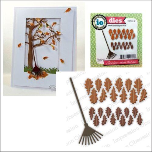 Impression Obsession cutting dies DIE201-K autumn leaf Oak Leaves and Rake