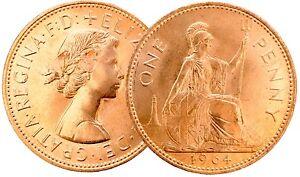 1961-a-1967-Elizabeth-II-Penny-En-Bronze-piece-de-votre-choix-de-l-039-annee-date