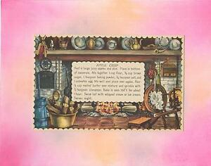VINTAGE LITHOGRAPH PRINT COLONIAL COOKING HEARTH APPLE CRISP ART RECIPE COLLAGE