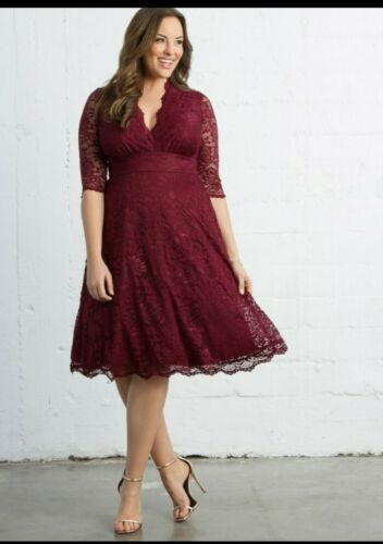 Kiyonna Mademoiselle Lace  Burgundy dress size 2x