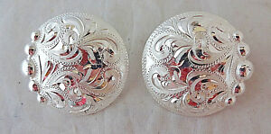 """Pair Hansen Western Conchos Square Silver Plate 1/"""" Screw Back Horse Tack Bridle"""