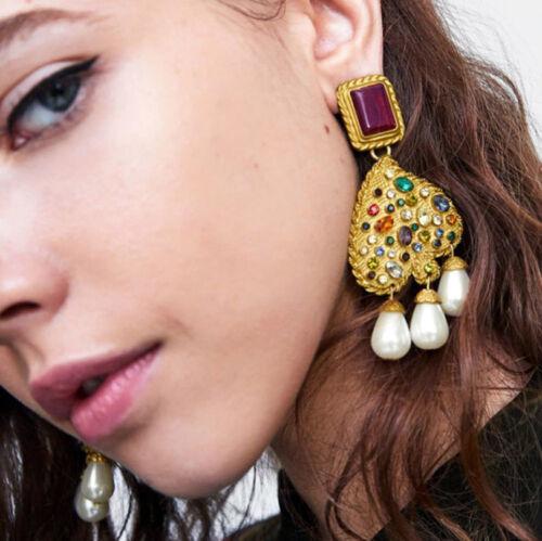 Pendientes moda maxi dorados Vintage con cristales multicolor estilo za