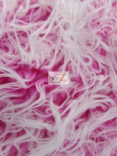 "FROSTED SHAGGY FAUX FUR LONG PILE FABRIC - Bubble Gum - 60"" WIDTH BY THE YARD"