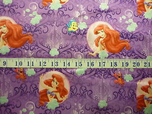Image Is Loading Disney My Little Mermaid Brushed Back Satin Fabric