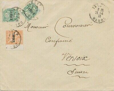 Fein Tanger - French Mail 1918 Provisional Definitive Stamps On Cover To Switzerland Auf Dem Internationalen Markt Hohes Ansehen GenießEn