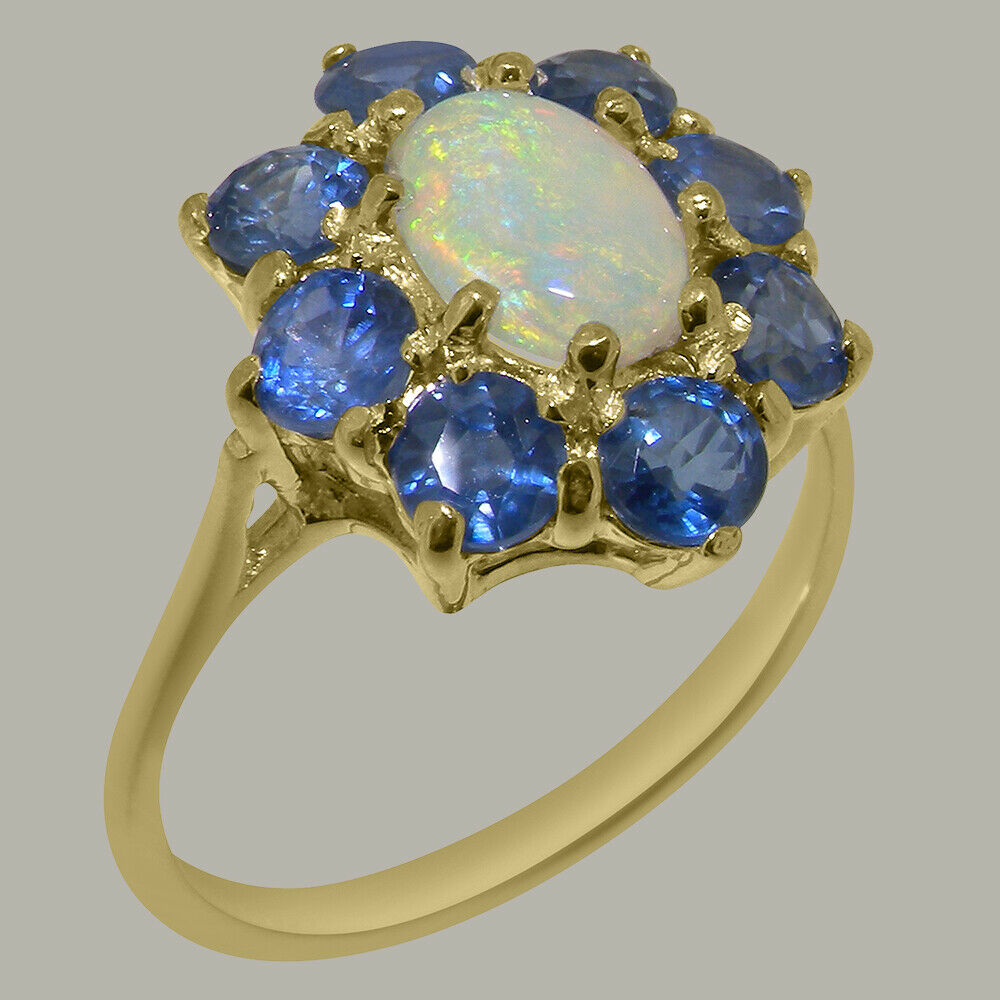 18ct 750 Yellow gold Natural Opal & Sapphire Womens Cluster Ring - Sizes J to Z