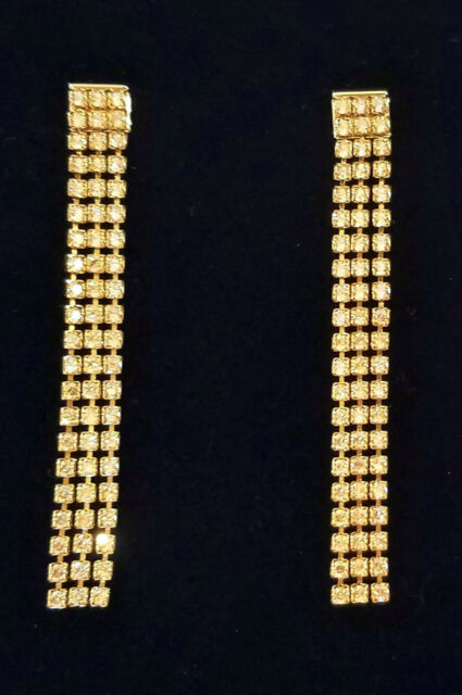 Authentic Swarovski Fit Gold Plated Triple Strand Dangle Earrings 3