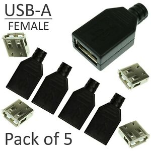 5pcs-USB-A-4-pin-Female-Connector-Solder-Kit-Black-Plastic-Shell-NEW-DIY-UK