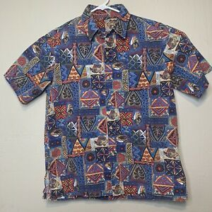 Vintage-80s-90s-Men-s-Tropical-Fish-Surf-Blue-Red-Hawaiian-Short-Slve-Shirt-M-L