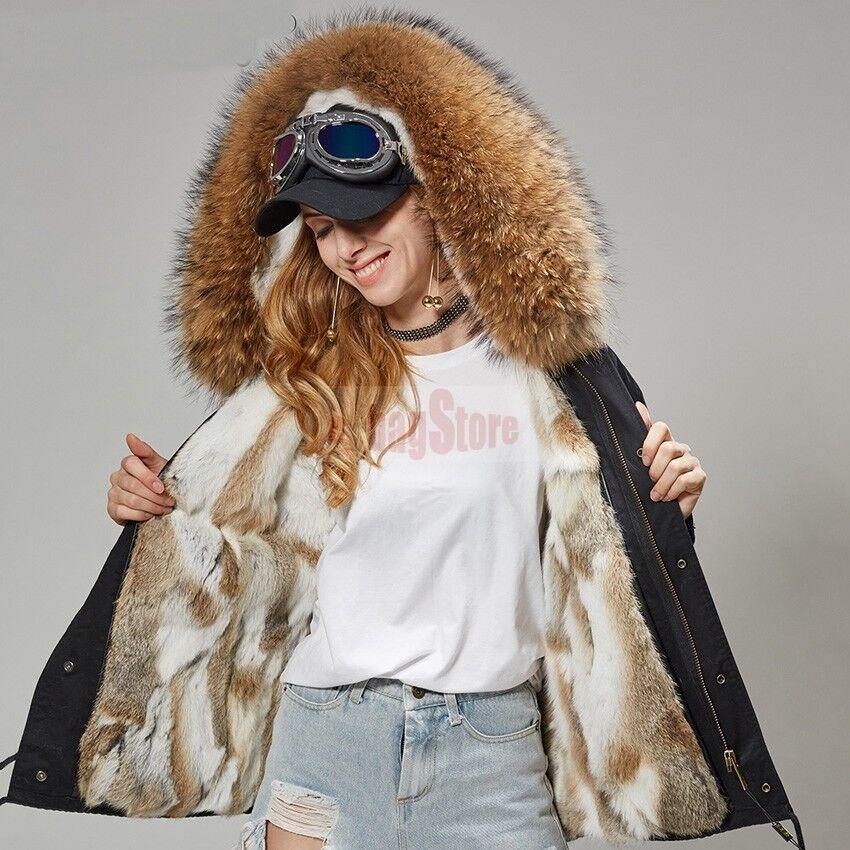 2019 mujeres abrigo con capucha de piel de mapache real  real Forro de piel de conejo Parka Chaqueta Corta  venta al por mayor barato