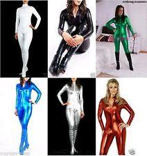 Superior quality!! Metallic Lycra Zentai Spandex Catsuit Costume Front Zip