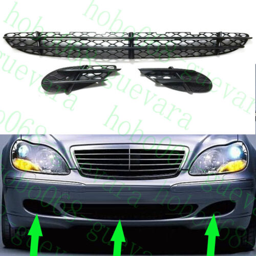3x Car Front Bumper Fog Lamp Cover ABS Lowe Grille For Benz W220 S-Class 1999-05