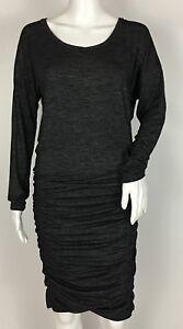 Athleta-Tulip-Long-Sleeve-Dress-Shale-Heather-Grey-Ruched-Size-XS