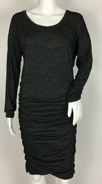 032a78b4add5 Athleta Tulip Long Sleeve Dress Shale Heather Grey Ruched Size XS