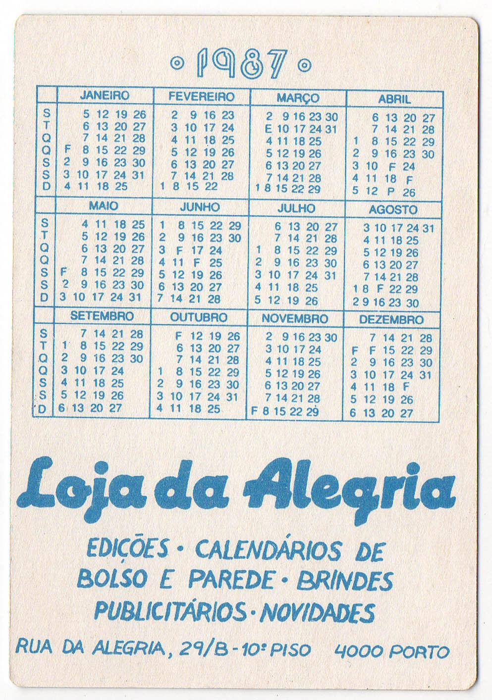 1987 Portugais - Poche Calendrier F1 Tyrrell Équipe - Portugais Martin Brundle c56476