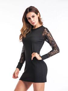 a63d9df02056 Caricamento dell immagine in corso vestito-corto-abito-tubino-elegante-nero- pizzo-trasparente-