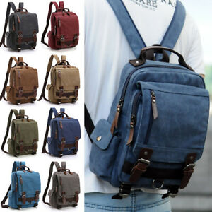 Men-039-s-Canvas-Convertible-Small-Mini-Backpack-Rucksack-Chest-Pack-Sling-Bag