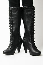 T.U.K. Size 6 A8184L $107 Black Faux Corset Lace Boots Zip Heels TUK Vegan NIB