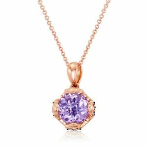 LeVian 14K Rose Gold Pink Amethyst Round Brown Diamonds Classy Pendant Necklace