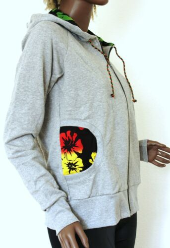Mit Cotton grau grey Jacke Sweatshirt hooded Reggae Jacket rasta Kapuze Y7w67x
